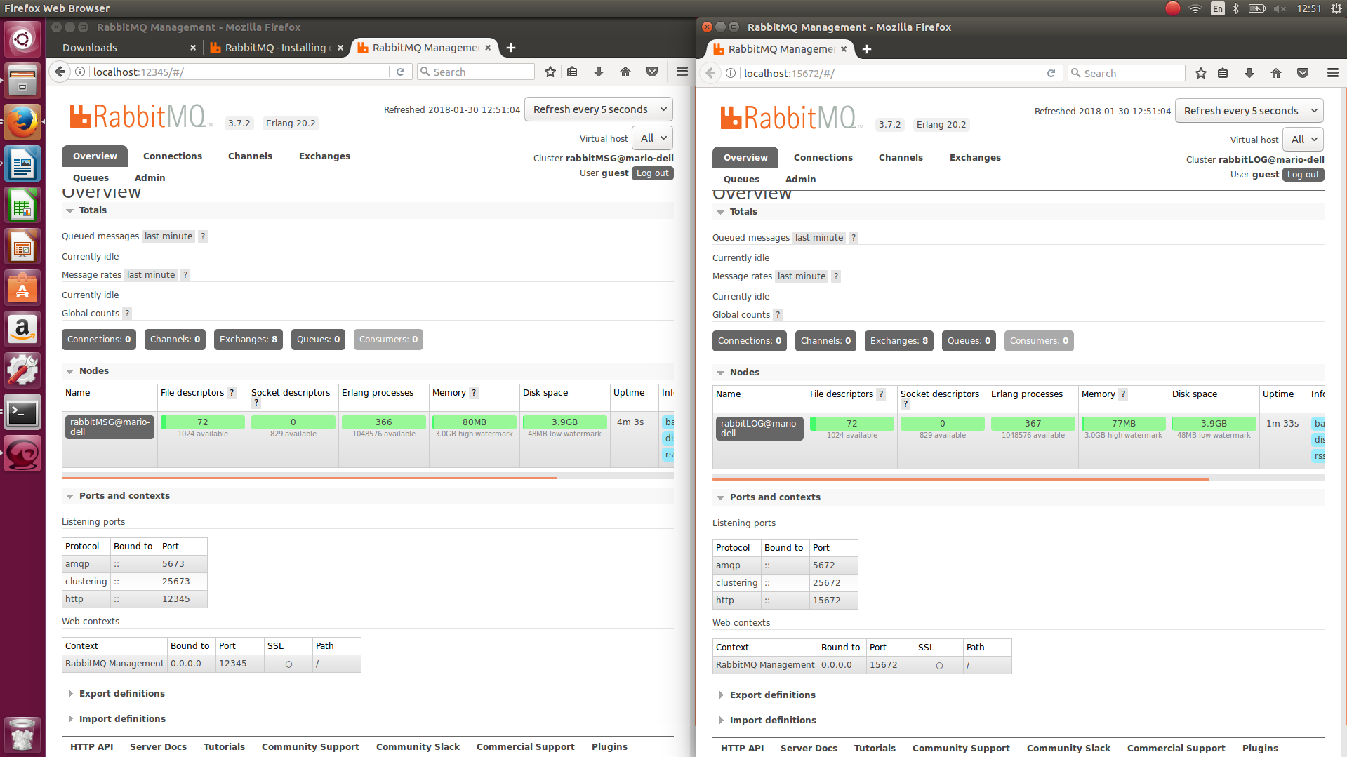 Running multiple RabbitMQ instances/servers on 1 machine